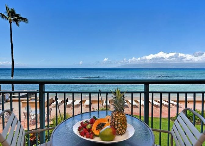 PRICE IMPROVEMENT! ABSOLUTELY OCEANFRONT! BRILLIANT VIEWS! Look no farther--this beautiful low-rise 1br/1ba condominium on a secluded beach comes turn-key with great furnishings. Fall in love watching stunning year-round sunsets, twin island ocean views, & whales breaching in season from your kitchen, living room or lanai. Featuring granite countertops, travertine flooring, new windows & sliding glass door, & an automatic shade on the spacious renovated lanai, in the perfect location between world class resorts and golf courses at Kaanapali and Kapalua, close to great restaurants and shops, just 10 minutes to historic Lahaina town's harbor activities, outlet mall, and award winning restaurants. You'll enjoy Maui's warm water swimming, snorkeling with the turtles, and uncrowded surfing right out front, or simply taking it all in while relaxing on your private lanai. The perfect vacation rental, or your sweet home in paradise, so call your favorite Realtor soon!