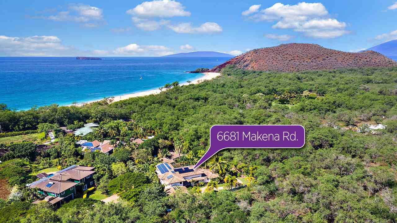 """Epic properties like this luxury property in Makena seldom become available. This is a once-in-a-lifetime opportunity to acquire the perfect home located in one of the most highly sought-after locations on what many believe is the best island in the world! This legacy estate is situated in a small extremely private gated community across and steps away from Makena """"Big"""" Beach, one of the largest undeveloped white sand beaches within a state park, protected from development. 6681 Makena Road feels like a secluded oasis where there are no hotels or condo buildings visible, yet all the luxury shops and restaurants of Wailea are just minutes away! Every inch of this nearly 1 acre estate has been meticulously designed and perfected to maximize the marvelous Maui lifestyle. Relax in this peaceful setting, feeling embraced by nature while knowing that conveniences like Costco are just a quick 35-minute drive away. No expenses were spared in the construction and the thoughtful design utilized to create this 4 bedroom, 4 bathroom custom masterpiece. Interior appointments include Venetian plaster, a chef's kitchen with two of everything, a resort- style pool, soundproof media room, an amazing utility laundry room, 18.5 foot ceilings, travertine lanais, pocket sliding doors and screens, and two incredible upstairs and downstairs master suites. A whole-home propane generator is integrated to keep you powered up. This is a genius home. Everything is connected through the Vantage system to give you complete control of lighting, ceiling fans, pool, hot tub, thermostats, garage and irrigation through your smartphone and tablet. The view is oriented directly West to astonish you with sunsets over the Molokini crater, Kahoolawe island, sailboats and whales. The entire property seamlessly integrates into the native tropical edible landscape for graceful indoor and outdoor living via the pocket doors and huge covered lanai. Monthly expenses are controlled through solar panels, solar wa"""