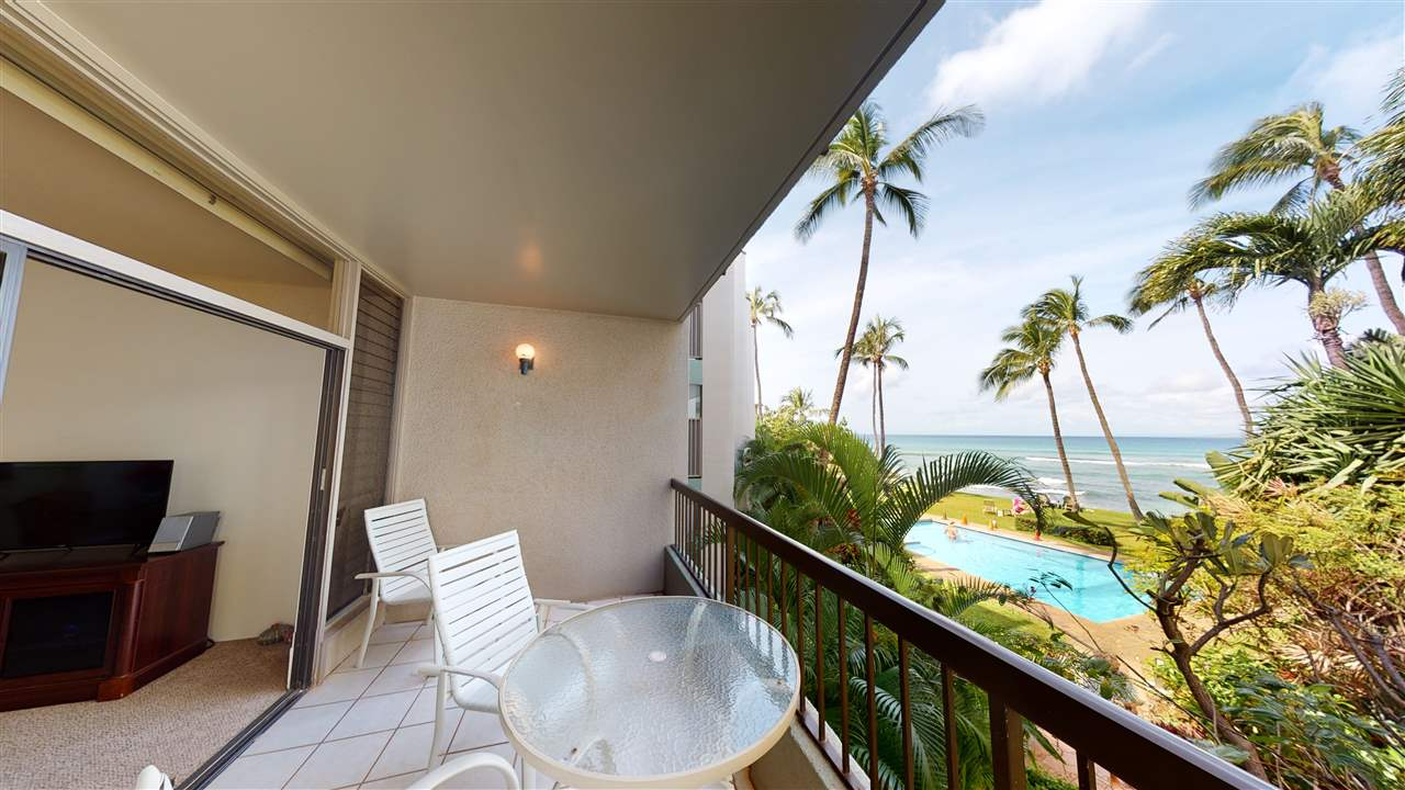 Hale Mahina is the most attractive condominium with the best secluded sandy beachfront setting between Kaanapali and Kapalua. The stunning tropical setting attracts repeat visitors and long time owner occupants alike. Sold fully furnished and move-in ready, this light-filled 1 bedroom corner end unit features unique split level design, beautiful 2020 bath renovation, and large lanai with whitewater ocean views of Molokai, whales in season, and brilliant sunsets. The configuration of the buildings creates private ambiance for the lushly landscaped pool, spa, lawn, & BBQ areas. You'll enjoy the safe swimming, snorkeling, turtle watching, and uncrowded surfing right out front. Electricity & basic cable is included in the maintenance fee. Note that this is a leasehold unit, check with your favorite Realtor for details. Currently used as a popular vacation rental, so call ahead to tour this great opportunity.