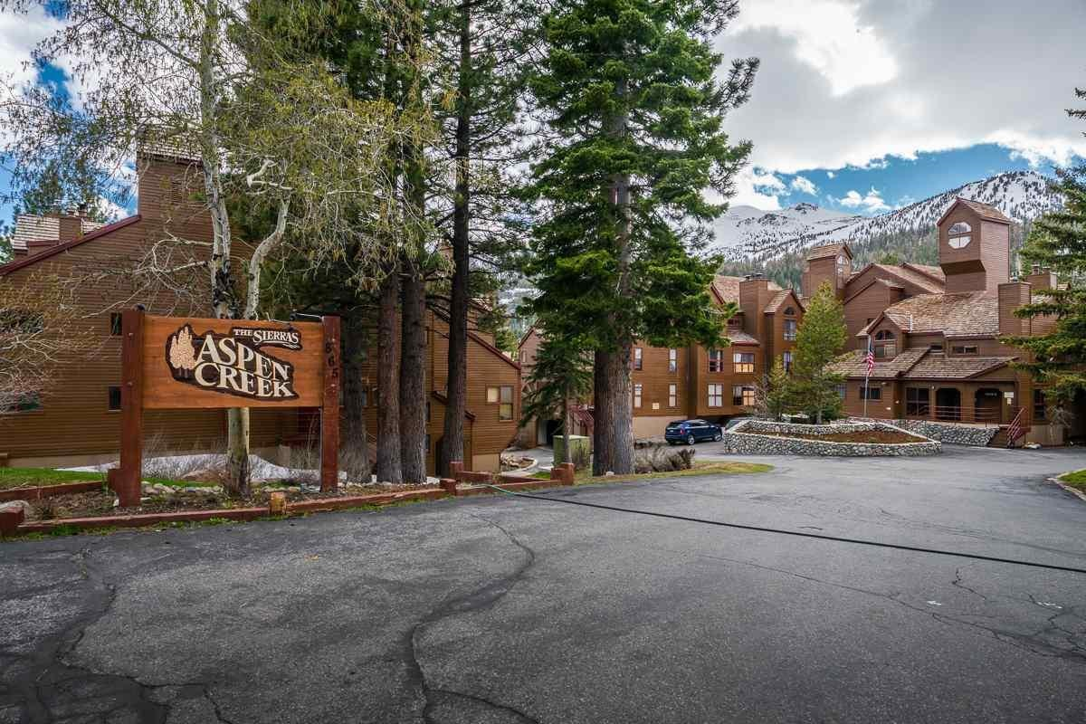 LOCATION!  This spacious 2 bedroom2 bath unit at Aspen Creek is very close to Eagle Lodge -  walk to the slopes, ski/ride home.  In the summer a biking/hiking trail is close by that leads through the forest and down to the meadows at Snowcreek.  A local's favorite hike!  Sold beautifully furnished, this unit is ready to be your retreat in Mammoth Lakes.   HOA dues include cable and internet access.  Underground parking and an elevator for easy access to your condo.  Complex includes pool, several spas, underground parking with extra guest parking.