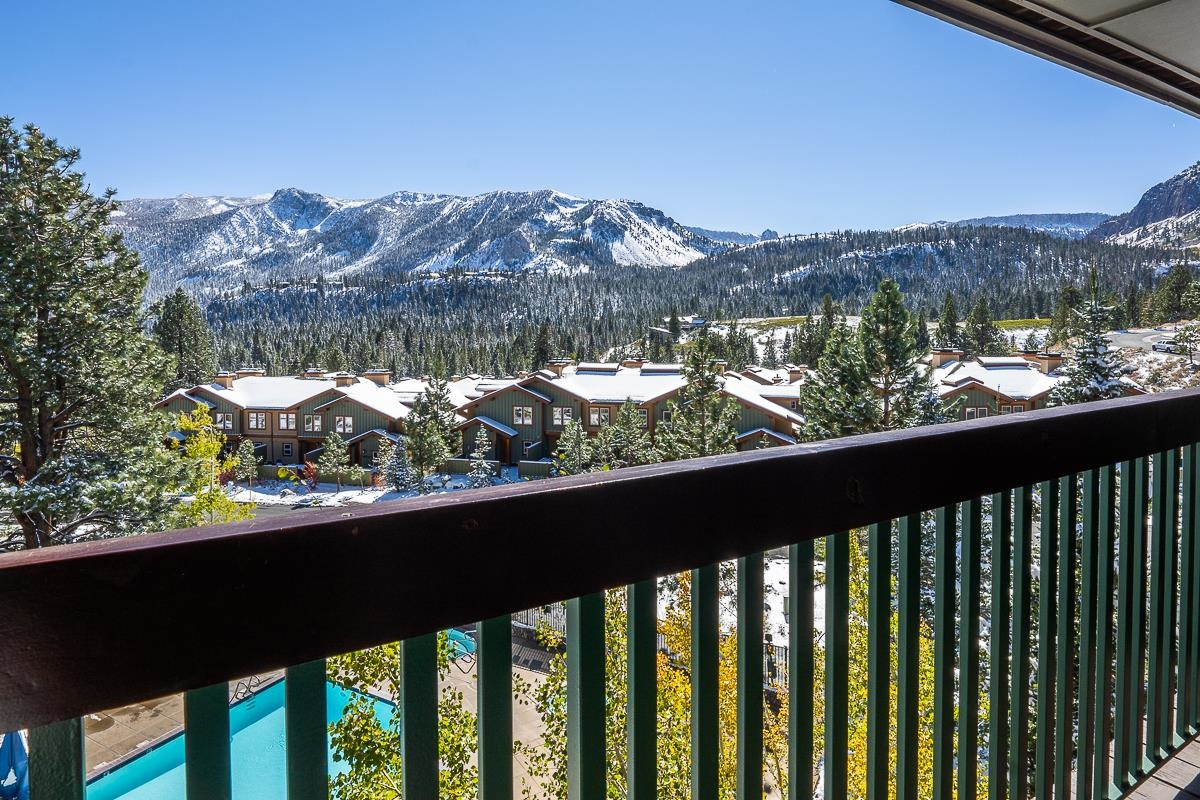 Spectacular top floor location south facing to Sherwins and Mammoth Rock. One of the only ski-in/ski-out locations and amenities include: year round pool, 3 spas, fitness center, elevator access, underground parking, ski lockers. Enjoy from your deck the fantastic mountain views from your private deck. This unit has been upgraded including granite counters with updated furnishings. The Summer months you can enjoy the easy access to the paved bike trail that loops the entire town. HOA fees include all utilities as well as shuttle transportation.