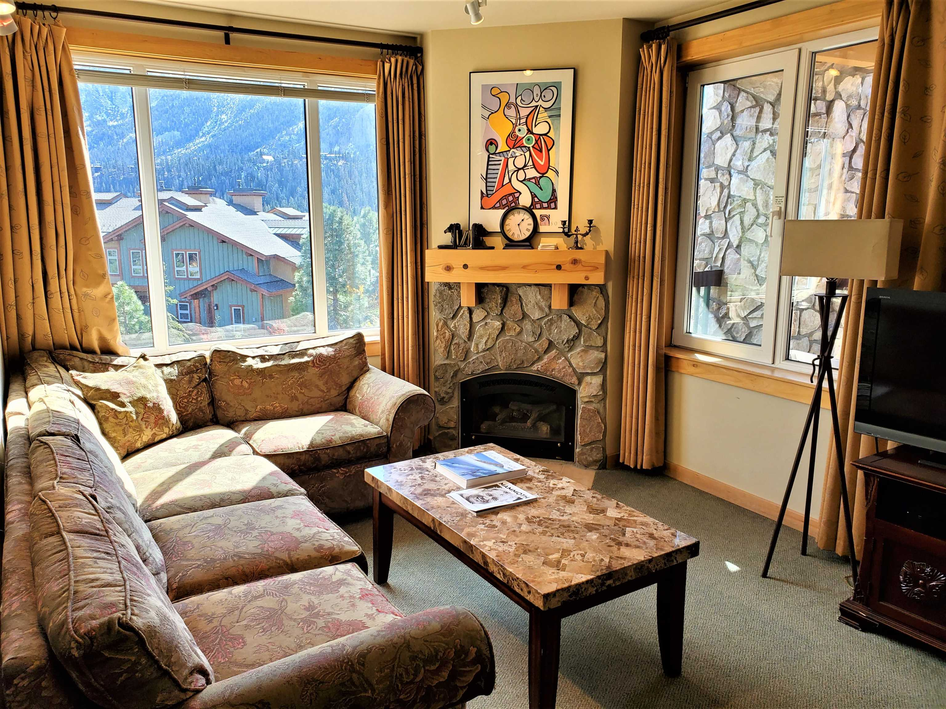 Located slope side at the base of Eagle Run, this condo is truly ski in/out. Two bedroom, two bath, corner unit with incredible views of Mammoth Rock, the Sherwins and the crest of the Sierra. Heated underground garage, ski lockers, year round heated pool, 3 jacuzzis, gym, coffee shop, ski rental shop, business center, elevators, laundry plus more! Leave your car in the garage and walk out the door to Chair 15 and Eagle Lodge to access Mammoth Mountain! Take the free town shuttle anywhere in Mammoth, no need to drive anywhere. HOA fee includes ALL utility expenses including cable TV/WIFI, water, propane & electric. No surprise heating or utility bills. Nightly rentals permitted. Contact listing agent for rental history.
