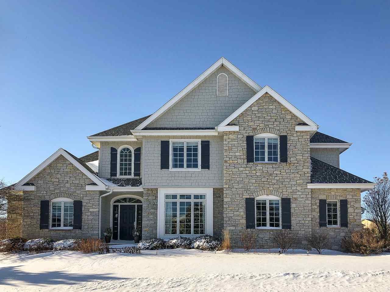 You'll love the natural light saturating this 5 bdrm Blackhawk home. The 2-story foyer & great rm welcome you in w/a wall of windows, gas FP + wet bar. To the right is the office/formal dining rm. A spectacular eat-in kitchen w/one of a kind island + high-end appliances (Wolf range, double wall ovens & Miele dishwasher) looks into the sunny family room with gas FP. A spacious owner's suite is at the other end of the home & features a large bath w/dual vanities, soaking tub + walk-in closet. Upstairs bedrms w/semi-private ensuite bathrms. The finished LL has exercise rm, 5th bedrm and rec rm. Flexible close date.