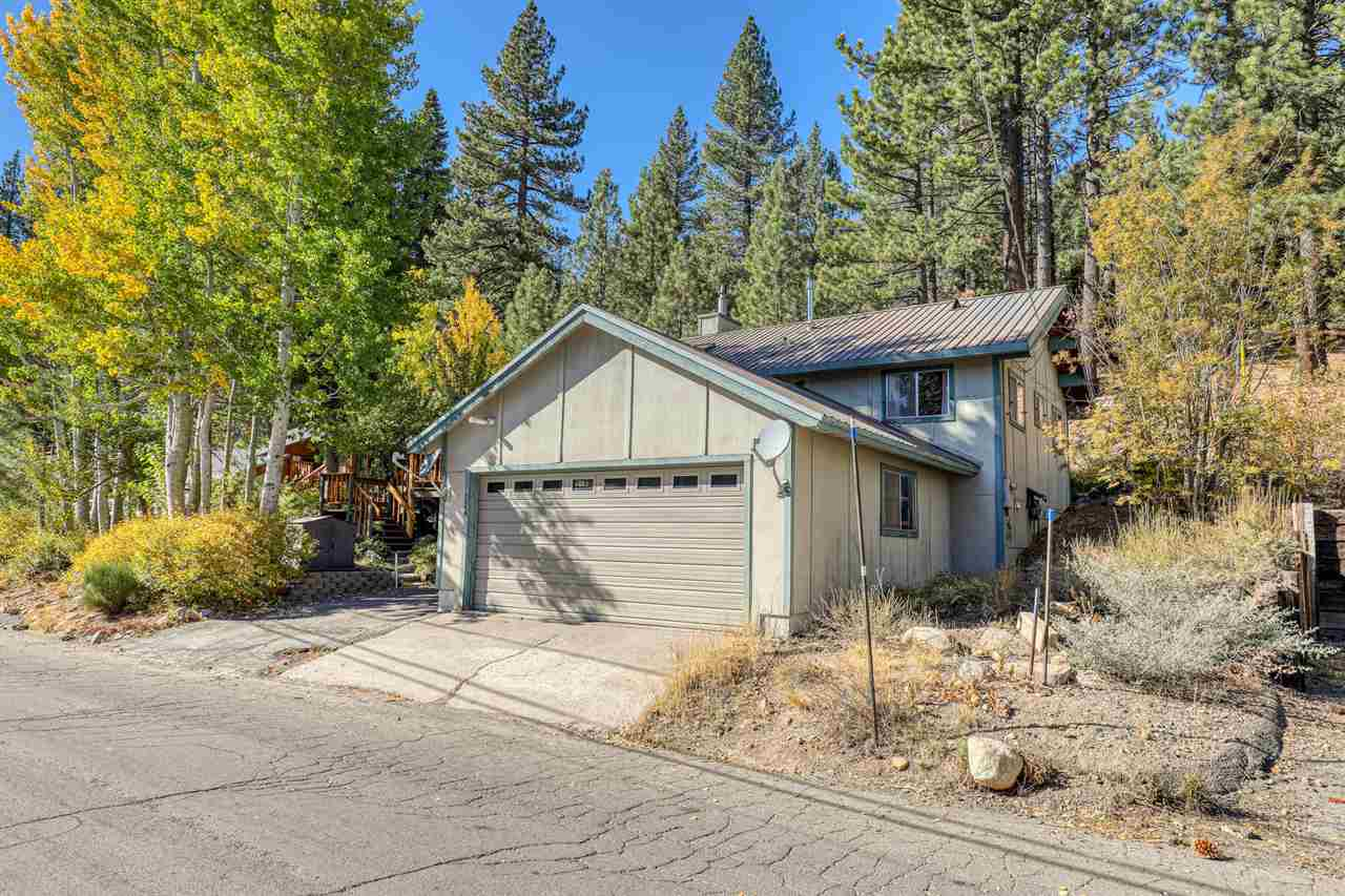 This home boasts a sun filled great room with vaulted ceilings.  The open floor plan and single level living make a wonderful place to entertain and easy to live in.  The wrap around deck offers filtered views of the world renowned Squaw Valley | Alpine Meadows ski resort that is located only a few minutes away.  There is ample parking between the two car garage and the parking pad.